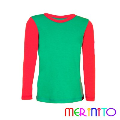 "Kids Long Sleeve T-Shirt ""Strong duo"" collection from 100% merino wool"