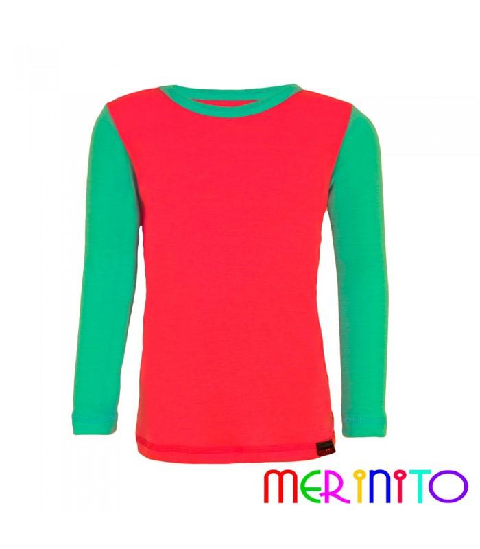 Merinito 100 merino kids long sleeve t shirt bicolor for Merino wool shirt long sleeve