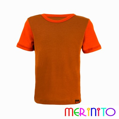 "Kids Short Sleeve T-Shirt Beige ""caramel"" & Orange from 100% merino wool"