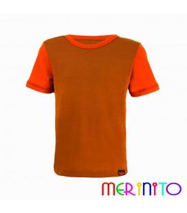"""Kinder Kurzarm T-Shirt Beige """"Karamell"""" & Orange aus 100% Merinowolle"""