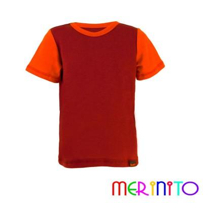 """Kinder Kurzarm T-Shirt Lila """"Wein"""" & Orange aus 100% Merinowolle"""