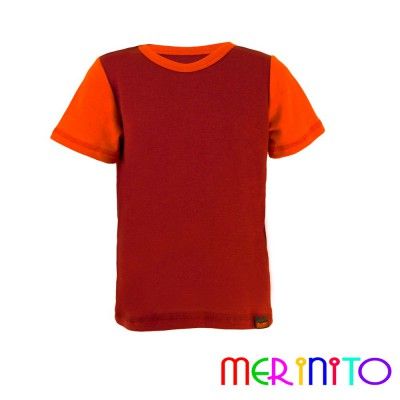 "Kids Short Sleeve T-Shirt Purple ""wine"" & Orange from 100% merino wool"