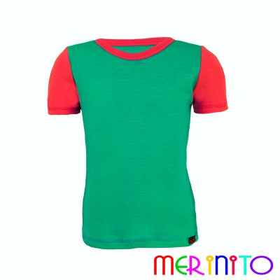"Kinder Kurzarm T-Shirt Türkis ""Ozean"" & Rosa aus 100% Merinowolle"