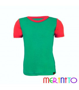 "Kids Short Sleeve T-Shirt Turquoise ""Ocean"" & Pink from 100% merino wool"