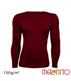 Men's Long Sleeve T-Shirt made from 50% merino wool and 50% modal | 150g/sqm