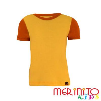 """Kids Short Sleeve T-Shirt Yellow """"solar"""" & Orange from 100% merino wool"""
