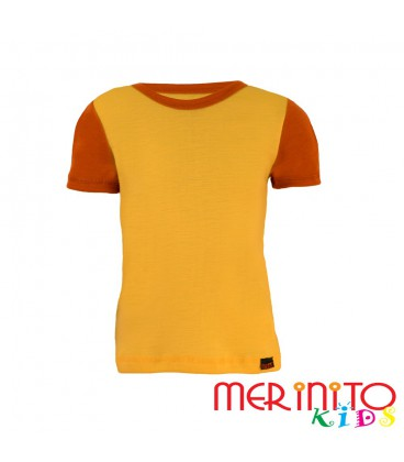 "Kids Short Sleeve T-Shirt Yellow ""solar"" & Orange from 100% merino wool"