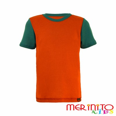 "Kids Short Sleeve T-Shirt Orange ""paprika"" & Green from 100% merino wool"