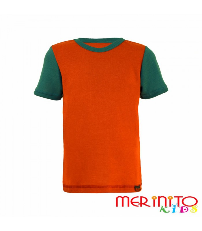 merinito 100 merino kinder kurzarm t shirt orange gr n. Black Bedroom Furniture Sets. Home Design Ideas