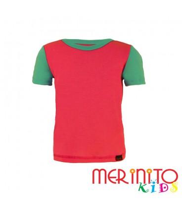 "Kinder Kurzarm T-Shirt Rosa ""True pink"" & Türkis aus 100% Merinowolle"