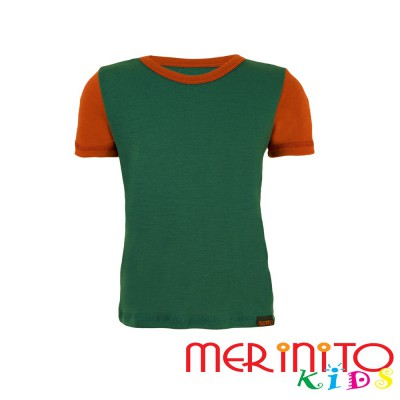 "Kids Short Sleeve T-Shirt Green ""turquoise"" & Orange from 100% merino wool"