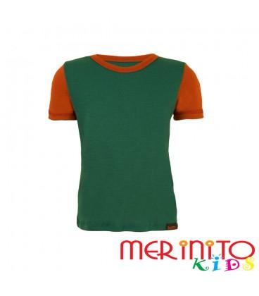 """Kinder Kurzarm T-Shirt Grün """"Türkis"""" & Orange aus 100% Merinowolle"""