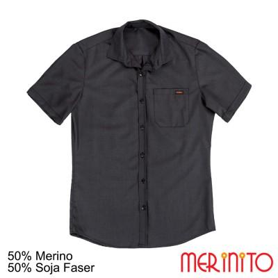 Herren Kurzarm Hemd | 50% Merinowolle und 50% Soja Faser