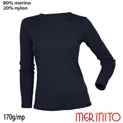 Damen Langarm T-Shirt   80% Merinowolle und 20% Nylon   170g/qm