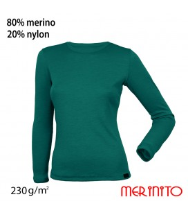 Damen Langarm T-Shirt | 80% Merinowolle und 20% Nylon | 230 g/qm