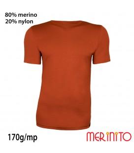 Herren Kurzarm T-Shirt   80% Merinowolle und 20% Nylon   170g/qm