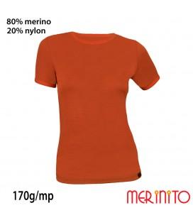 Damen Kurzarm T-Shirt  | 80% Merinowolle und 20% Nylon | 170g/qm