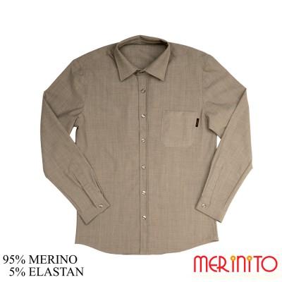 Herren Langarm Hemd | 95% Merinowolle und 5% Elasthan