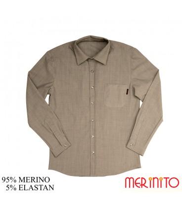 Herren Langarm Hemd | 95% Merinowolle und 5% Elastan