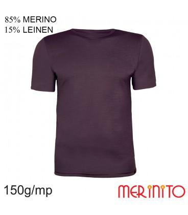 Merino Shop | Merino Wolle T Shirt Herren | 85% Merinowolle 15% Leinen | 150 g/qm