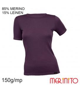 Damen Kurzarm T-Shirt | 85% Merinowolle 15% Leinen | 150 g/m2