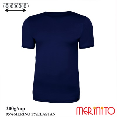Men's Short Sleeve T-Shirt | 95% merino wool and 5% elastane | 200g/sqm