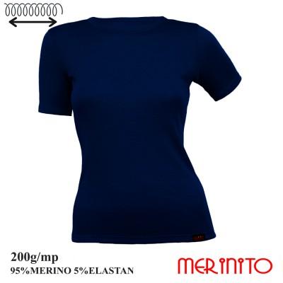 Damen Kurzarm T-Shirt | 95% Merino Wolle und 5% Elasthan | 200g/qm