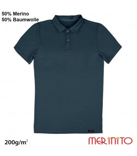 Men Short Sleeve Polo Jersey | 50% merino wool + 50% cotton| 200g / sqm