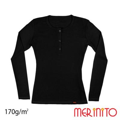 Damen Langarm T-Shirt mit Muschel-Knöpfe   100% Merinowolle   170g/qm