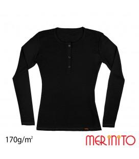 Women's Long Sleeve T-Shirt and Shell Buttons | 100% merino wool | 170 g/sqm