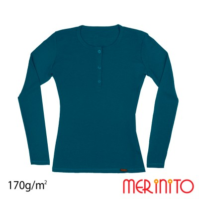 Women's Long Sleeve T-Shirt and Shell Buttons | 100% merino wool | 170 g/sqm