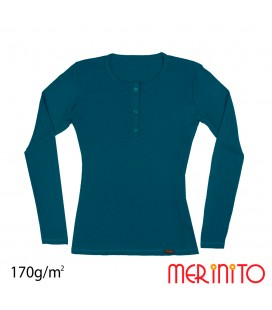 Women's Long Sleeve T-Shirt and Black Shell Buttons | 100% merino wool | 170 g/sqm