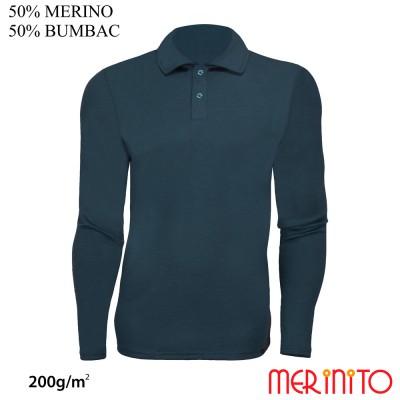 Men Long Sleeve Polo Jersey   50% merino wool + 50% cotton  200g / sqm