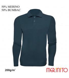 Herren Langarm Polo Jersey | 50% Merinowolle + 50% Baumwolle | 200g/qm