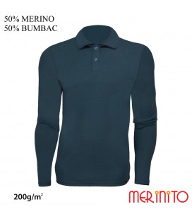 Men Long Sleeve Polo Jersey | 50% merino wool + 50% cotton| 200g / sqm