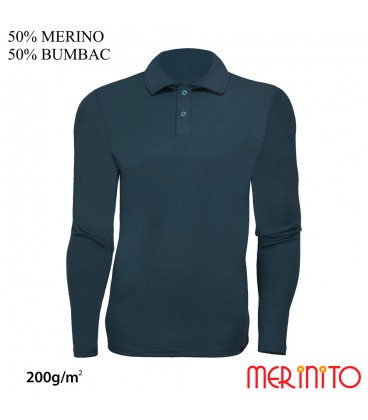 Langarm Herren Polo | 50% Merinowolle 50% Baumwolle| 200g/qm