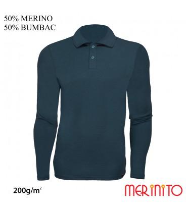 Long Sleeve Polo Jersey | 50% Merino + 50% cotton | 200g /sqm