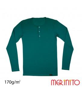 Herren Langarm T-Shirt mit Knöpfe | 100% Merinowolle | 170g/qm