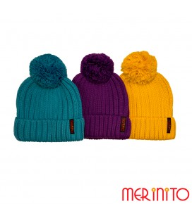 Adult Pom Beanie | 50% merino wool and 50% acryl
