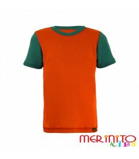 """Kids Short Sleeve T-Shirt Orange """"paprika"""" & Green from 100% merino wool"""