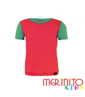 "Kids Short Sleeve T-Shirt Pink ""true pink"" & Turquoise from 100% merino wool"
