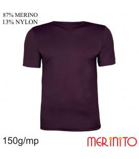 Herren Kurzarm T-Shirt   87% Merinowolle und 13% Nylon   150g/qm