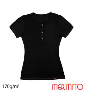 Women's Short Sleeve T-Shirt with Buttons | 100% merino wool | 170 g/sqm